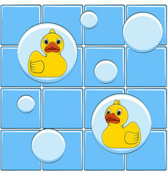 Colored background with yellow ducks vector