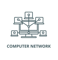 computer network line icon computer vector image