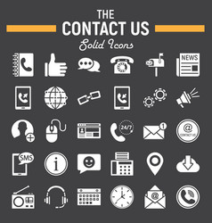 Contact us solid icon set web button signs vector
