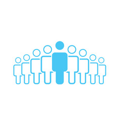 crowd of nine people icon silhouettes social vector image