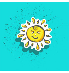 cute happy little childish sun sticker fashion vector image