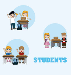 Cute students cartoons vector