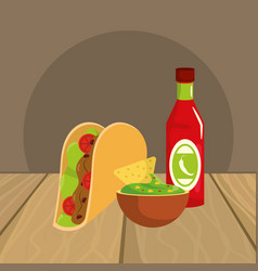 delicious mexican food cartoon on restaurant table vector image