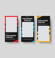 design vertical black web banners with a vector image