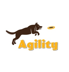 Dog agility logotype Dog silhouette isolated on vector