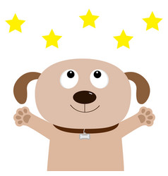 Dog face pet collection puppy pooch looking up vector