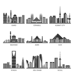 Eastern Cityscapes Landmarks Black Icons vector