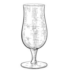 empty beer glass hand drawn sketch vector image