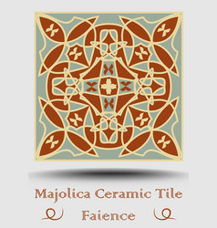 Faience ceramic tile in beige olive green and red vector