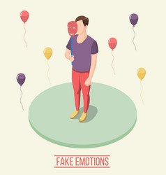 fake emotions isometric composition vector image