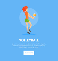female volleyball player with ballbanner template vector image