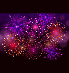 festive colorful fireworks on black background vector image