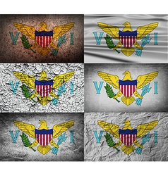 Flag of Virgin Islands US with old texture vector