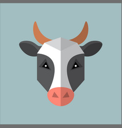 flat style poly cow icon isolated on a blue vector image