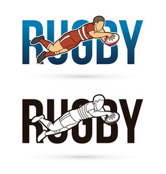 Font rugby with rugby player action cartoon sport vector