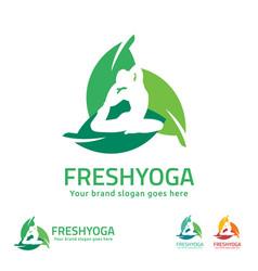 fresh yoga logo vector image