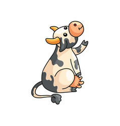 Funny smiling spotted cow showing or asking vector