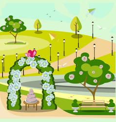 Garden wedding arch in park vector