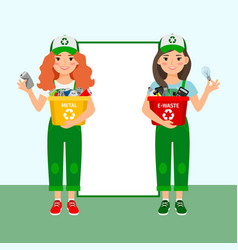 girls learning recycle trash vector image