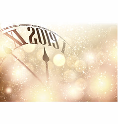 Gold bokeh 2019 new year background with clock vector