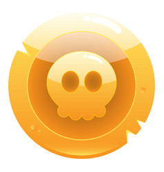 golden game pirate coin icon with cute skull vector image