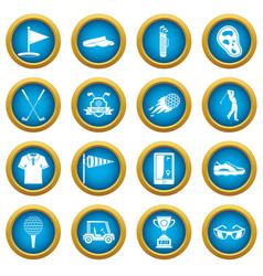 golf items icons blue circle set vector image