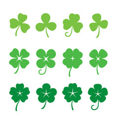 green clover leaves set vector image