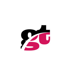 Gt g t pink and black alphabet letter combination vector