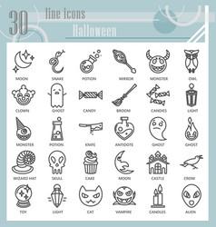 halloween line icon set horror symbols collection vector image