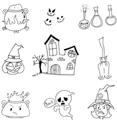 Halloween set in doodle on white backgrounds vector image