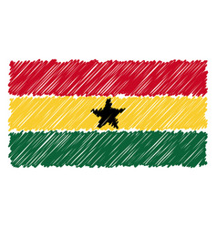 hand drawn national flag of ghana isolated on a vector image