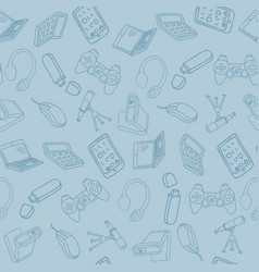 hand drawn office supplies in seamless pattern vector image