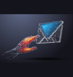 Hand touching on mail low poly color vector