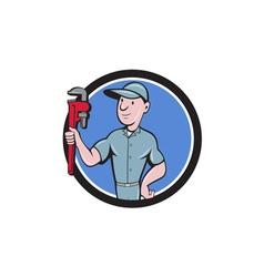 Handyman Monkey Wrench Circle Cartoon vector image