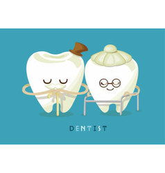 Happy older tooth vector