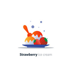 ice cream dessert on plate strawberry flavor cool vector image