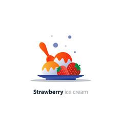 Ice cream dessert on plate strawberry flavor cool vector