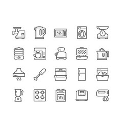 line kitchen appliances icons vector image