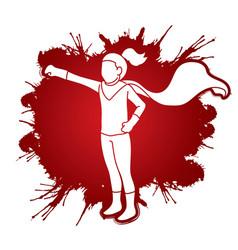 Little girl super hero action cartoon graphic vect vector