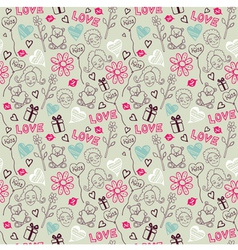Love Doodle Pattern vector image
