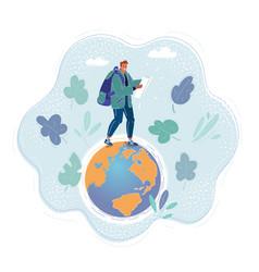man walking on earth globe vector image