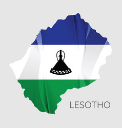 map lesotho with an official flag on white vector image