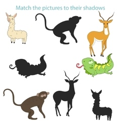 Match pictures to their shadows child game vector
