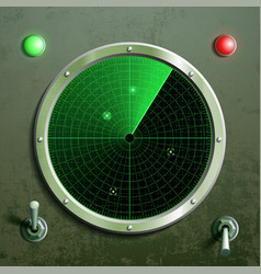 Military green radar screen with the target and vector