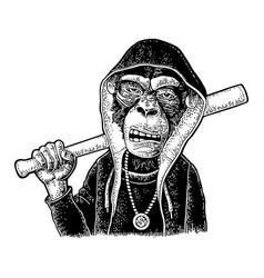 monkey raper dressed in hoodie necklace dollar vector image