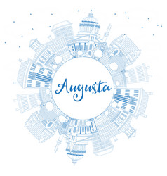 outline augusta maine city skyline with blue vector image