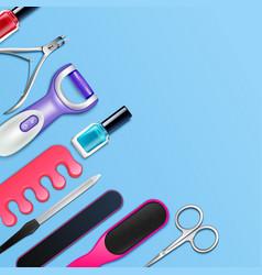 Pedicure tools frame vector