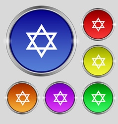 Pentagram icon sign Round symbol on bright vector