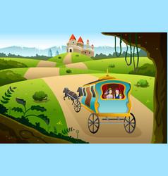 Prince and princess riding a wagon vector
