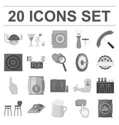 Pub interior and equipment monochrome icons in vector
